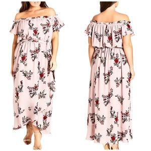 NWT City Chic Off Shoulder Floral Maxi Dress
